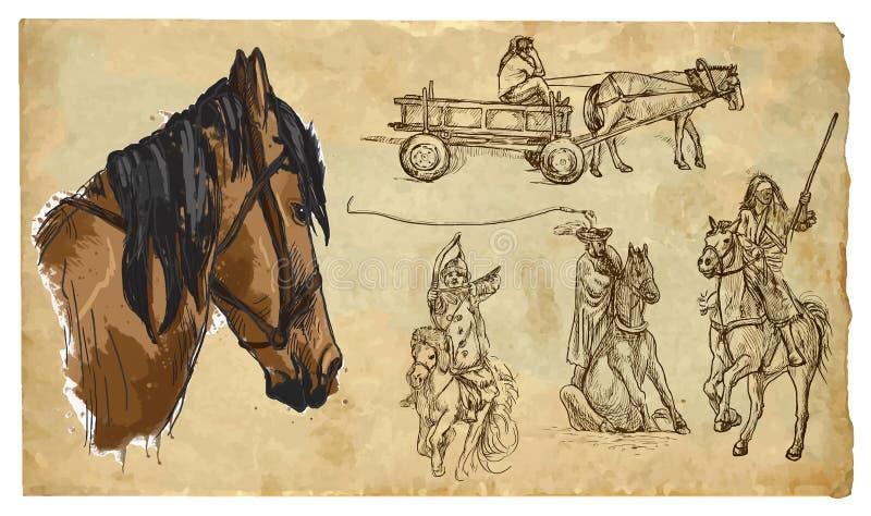 Animales, tema: CABALLOS - paquete dibujado mano del vector stock de ilustración