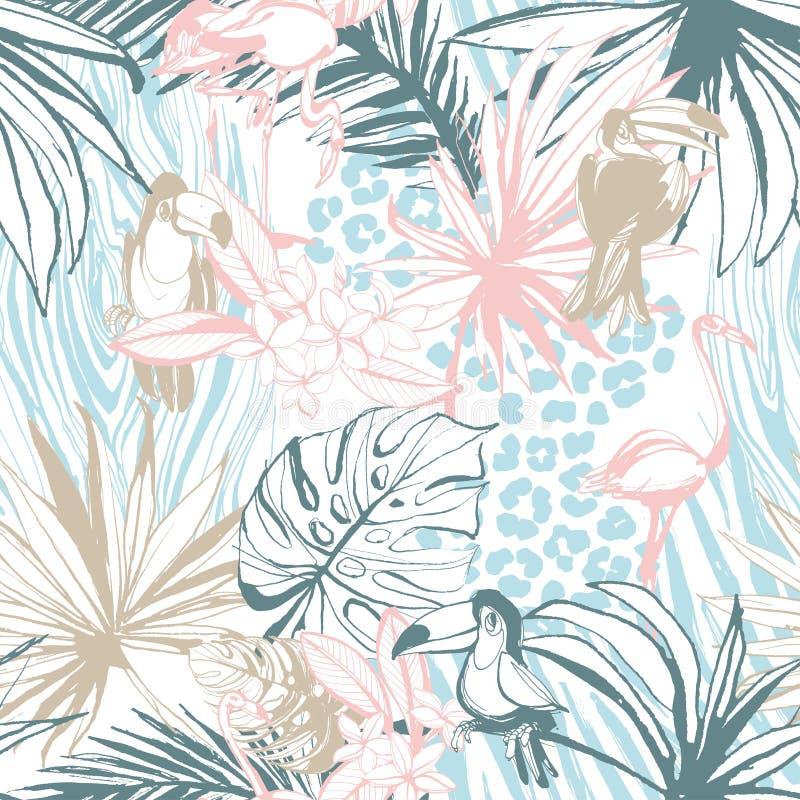 Animales tropicales dibujados mano inconsútil de los pájaros de las hojas de palma de la tinta del modelo ilustración del vector