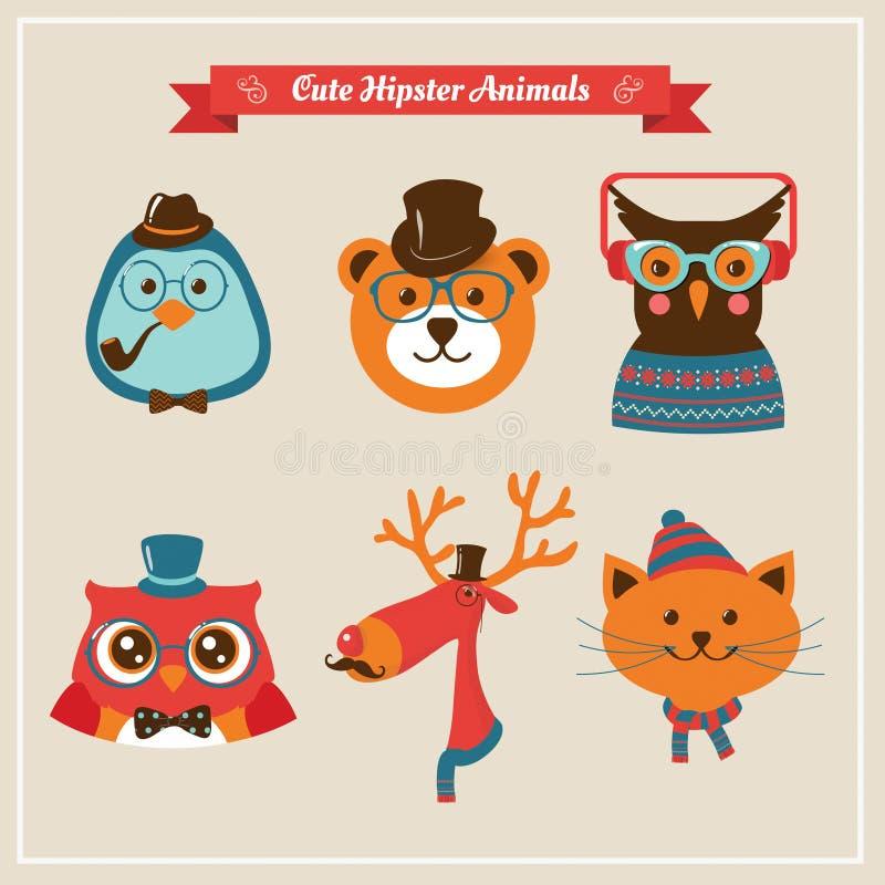 Animales y animales domésticos lindos del inconformista de la moda stock de ilustración