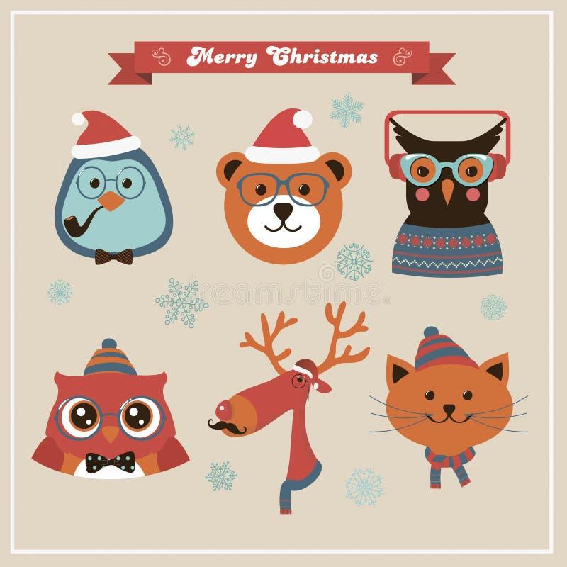 Animales y animales domésticos lindos del inconformista de la moda de la Navidad stock de ilustración