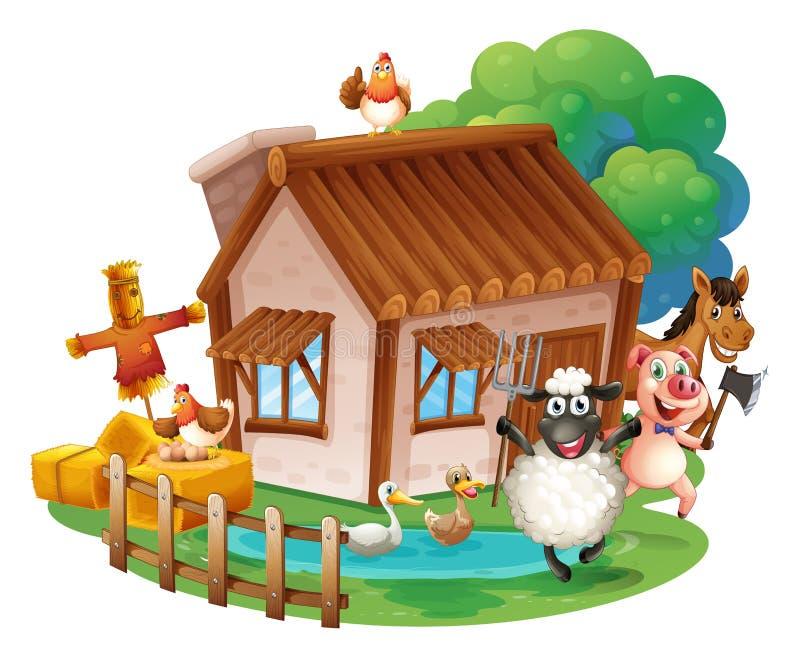 Animales y cabaña ilustración del vector