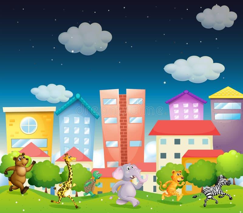 Animales y ciudad libre illustration