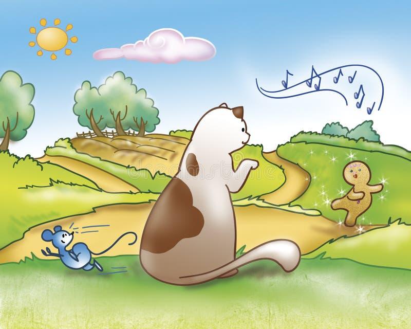 Animales y muchacho del pan de jengibre ilustración del vector