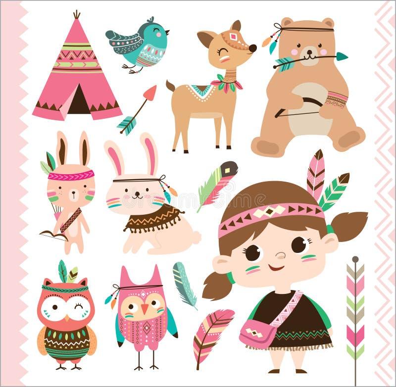 Animales y niña tribales lindos stock de ilustración