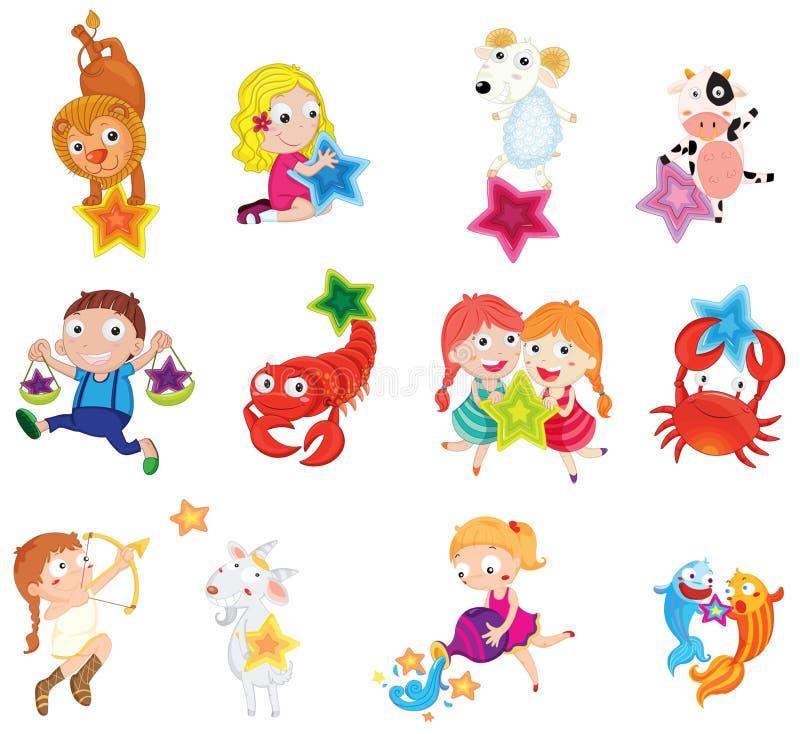 Animales y niños libre illustration