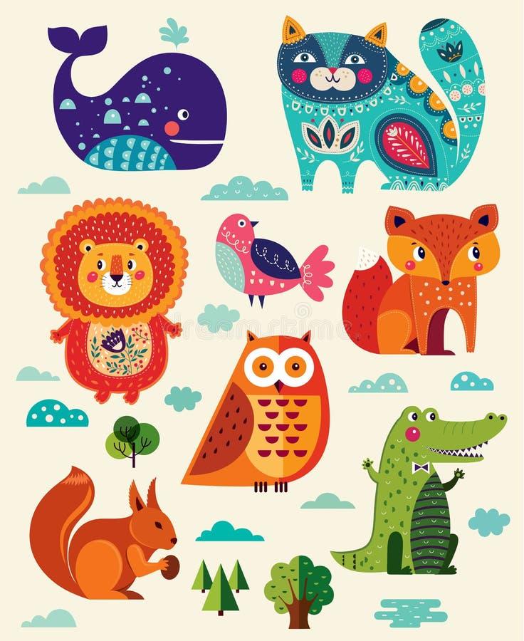 Animales y pájaros divertidos stock de ilustración