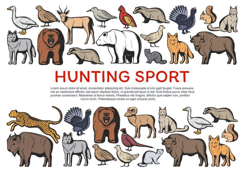 Animales y p?jaros salvajes del bosque Deporte de la caza libre illustration