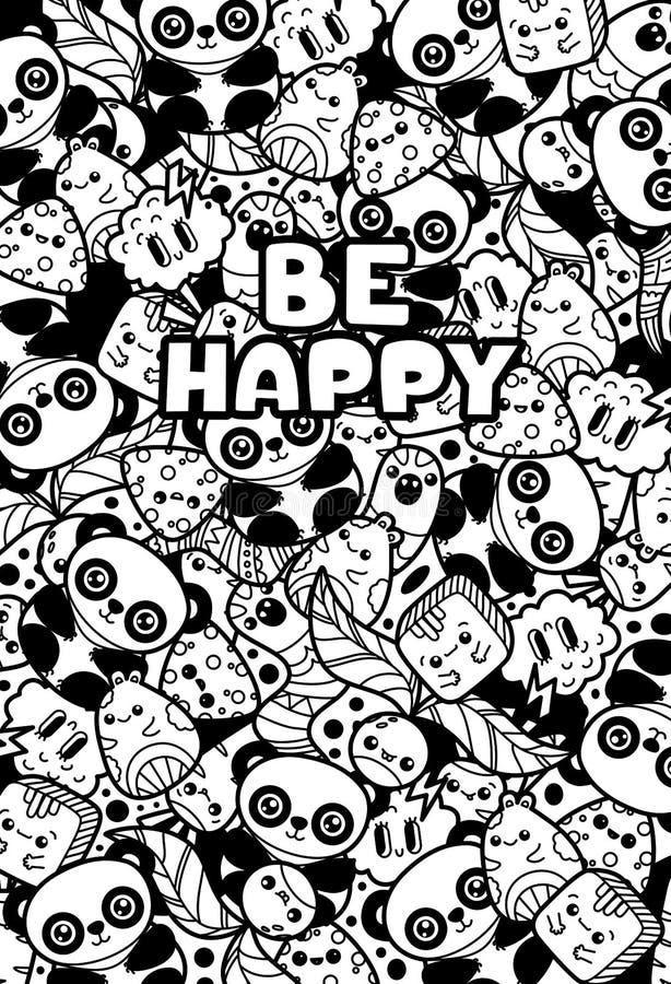 Animales y plantas lindos de los caracteres del kawaii del garabato Las letras sean felices Libro de colorear blanco y negro ilustración del vector