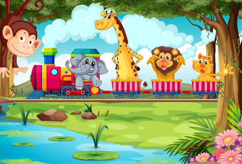 Animales y tren ilustración del vector