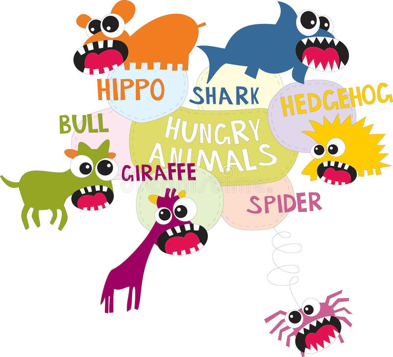 Animali affamati royalty illustrazione gratis