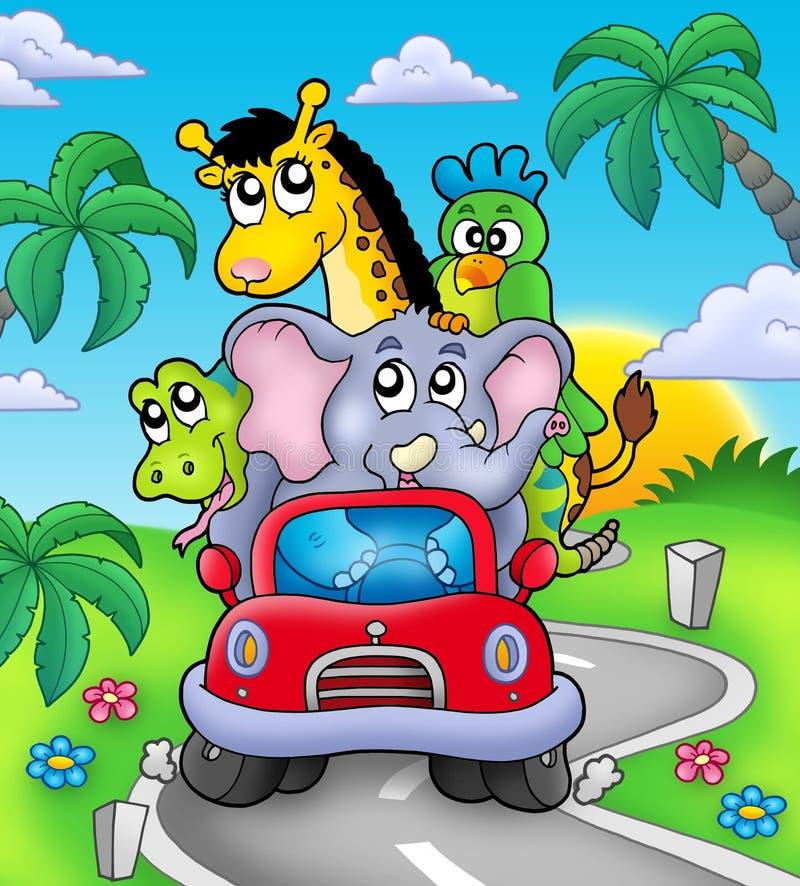 Animali africani in automobile sulla strada illustrazione vettoriale