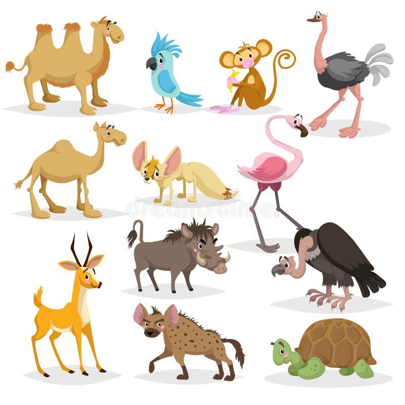 Animali africani del fumetto sveglio impostati Dromedario e cammelli battriani, pappagallo, scimmia, struzzo, fennec, fenicottero illustrazione vettoriale