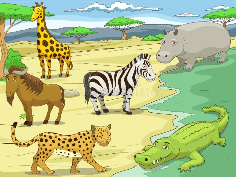 Animali africani della savana del gioco educativo royalty illustrazione gratis