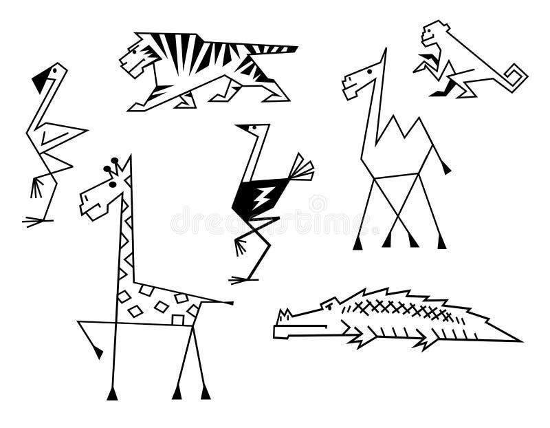 Animali africani della savanna illustrazione di stock