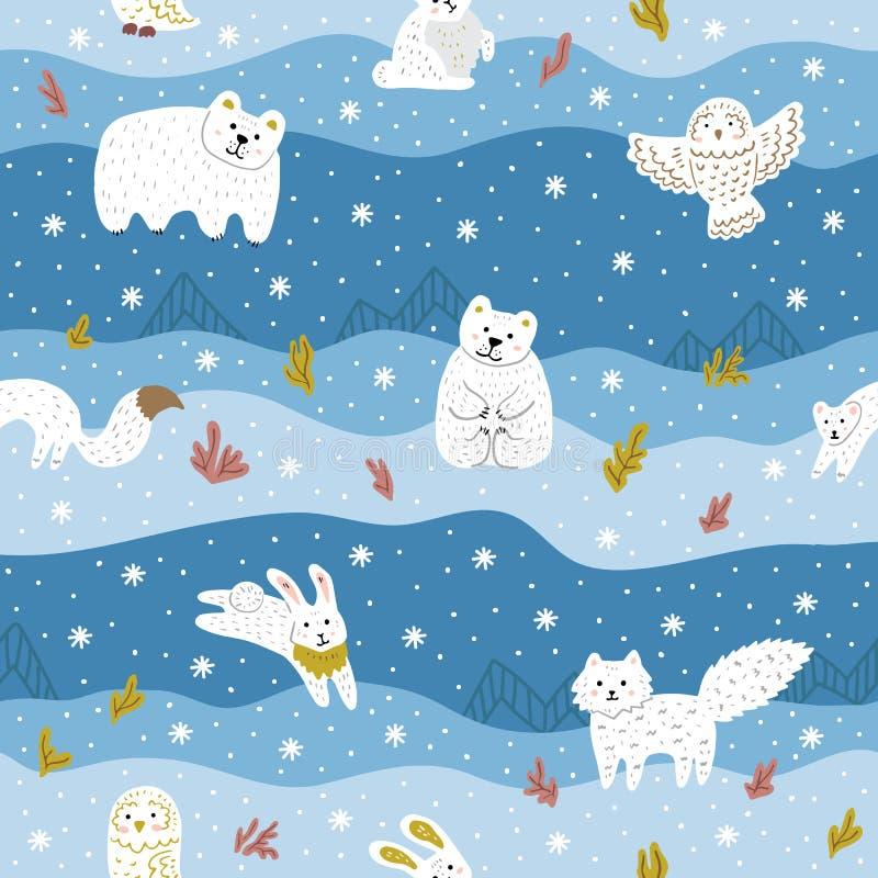 Animali artici con pelliccia bianca Modello senza cuciture sveglio per i vestiti del bambino, tessuto Illustrazione di vettore immagini stock libere da diritti
