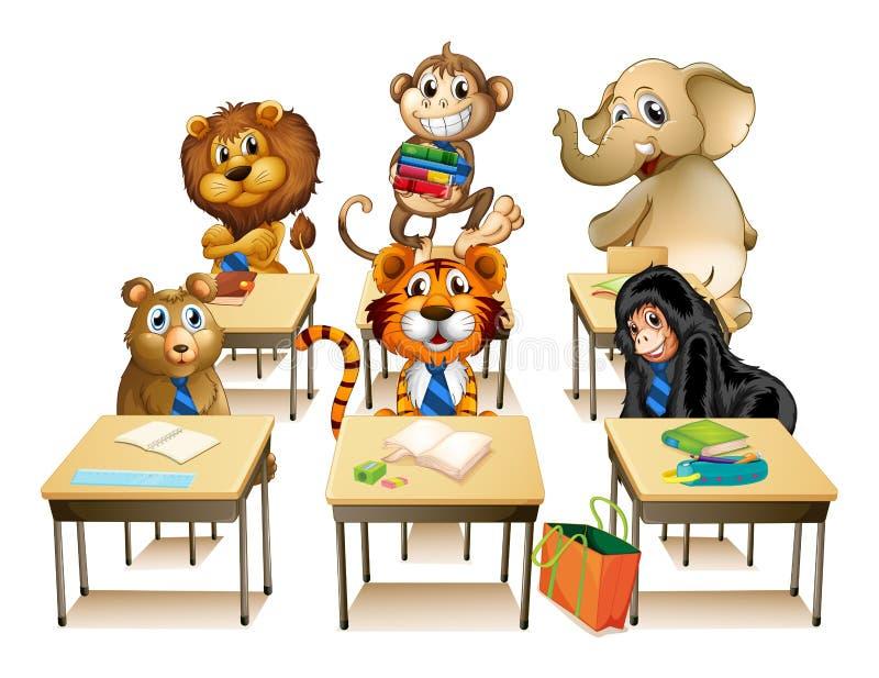 Animali in aula royalty illustrazione gratis