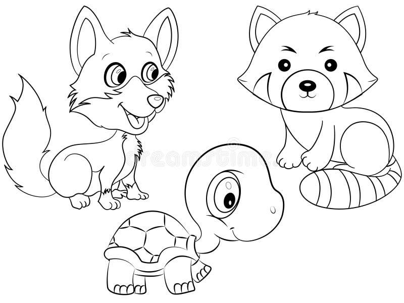Animali che colorano pagina illustrazione vettoriale