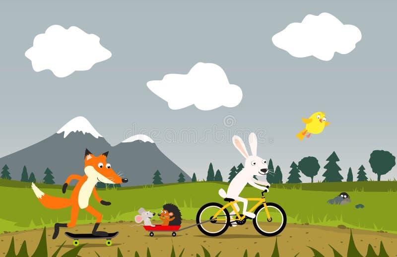 Animali che guidano bici e pattino illustrazione di stock