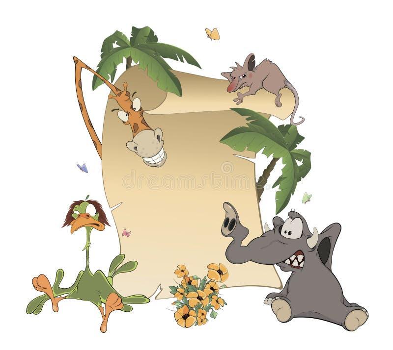 Animali con il fumetto in bianco del bordo del segno illustrazione di stock