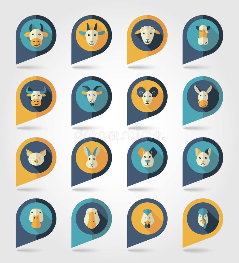Animali da allevamento che tracciano le icone dei perni illustrazione di stock