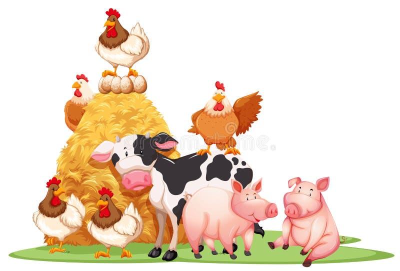 Animali da allevamento con il mucchio di fieno illustrazione vettoriale