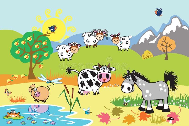 Animali da allevamento del fumetto nel pascolo illustrazione di stock