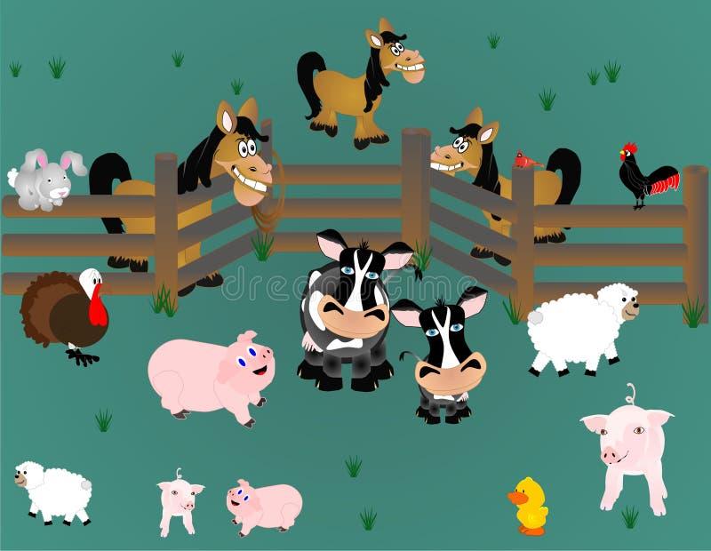 Animali da allevamento del paese fuori in pascolo illustrazione di stock