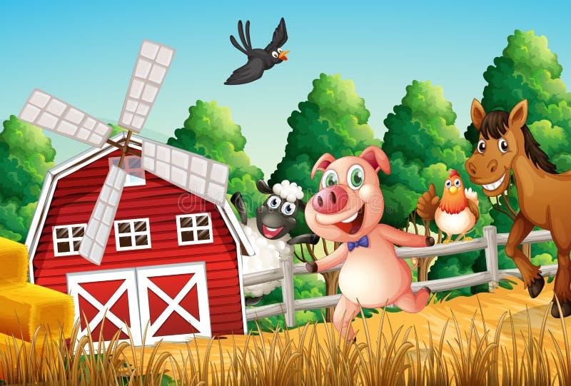 Animali da allevamento felici illustrazione vettoriale