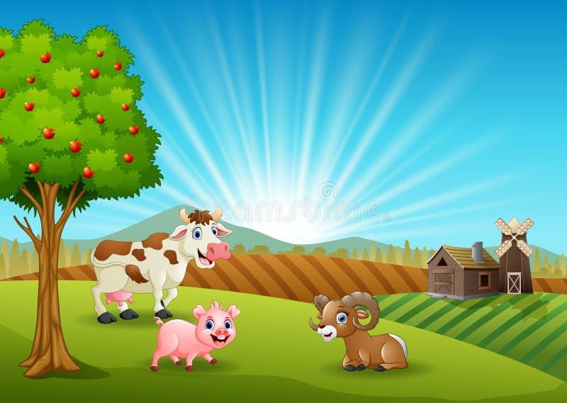 Animali da allevamento felici di mattina illustrazione vettoriale