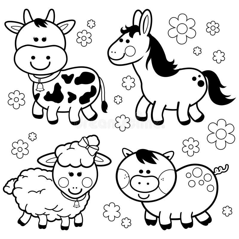 Animali da allevamento: Mucca, cavallo, pecore e maiale royalty illustrazione gratis