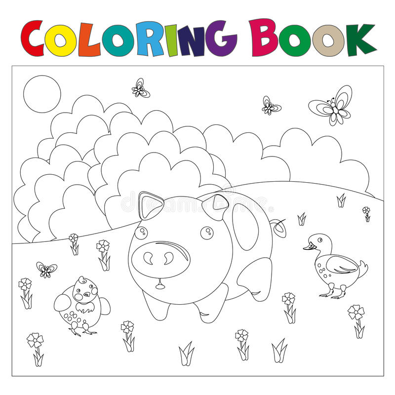 Animali da allevamento per il libro da colorare illustrazione vettoriale