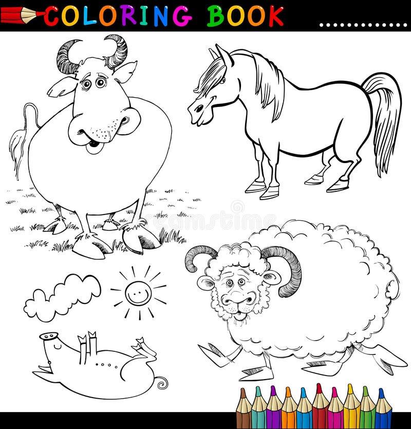Animali Da Allevamento Per Il Libro O La Pagina Di Coloritura Fotografia Stock