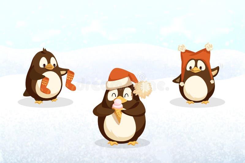 Animali dei pantaloni a vita bassa dei pinguini con Santa Stockings, cappello royalty illustrazione gratis