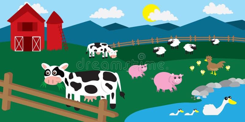 Animali del cortile dell'azienda agricola illustrazione di stock