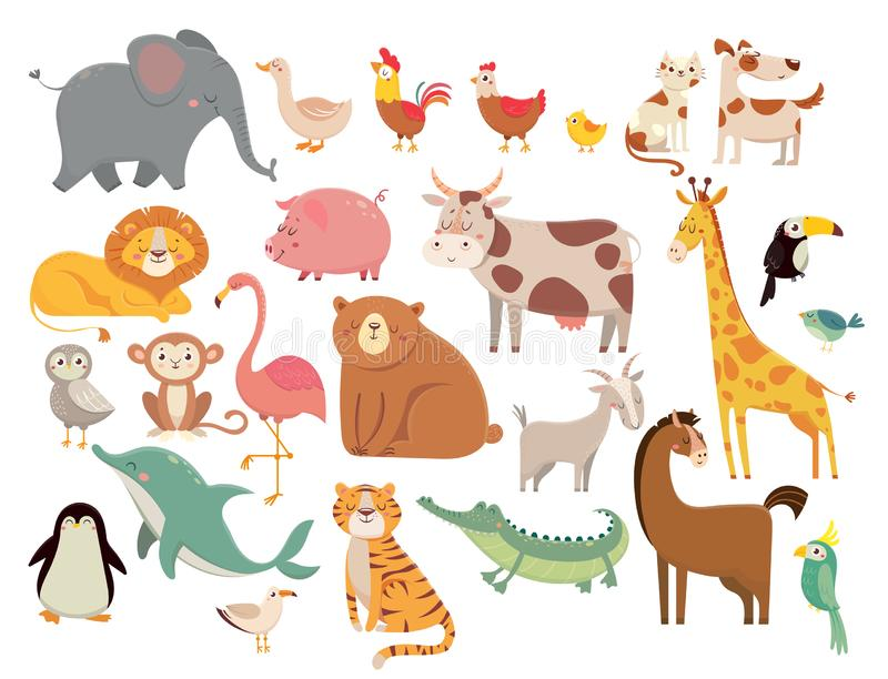 Animali del fumetto Elefante e leone sveglio, giraffa e coccodrillo, mucca e pollo, cane e gatto Animali della savanna e dell'azi illustrazione vettoriale