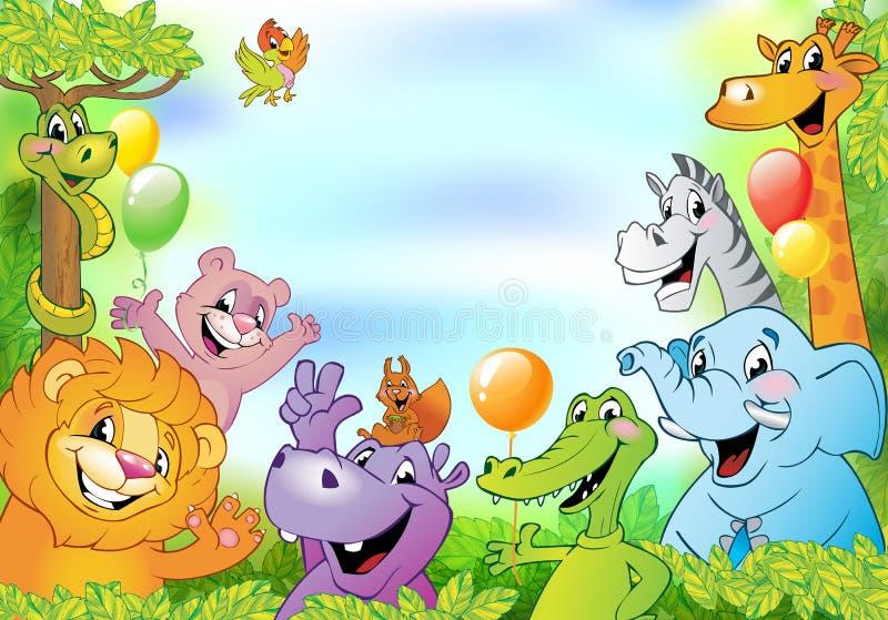Animali del fumetto, fondo allegro illustrazione di stock