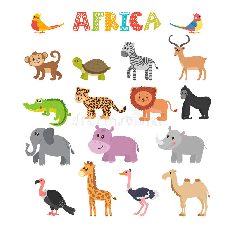 Animali dell'Africa Insieme di vettore degli animali della giungla del fumetto illustrazione di stock