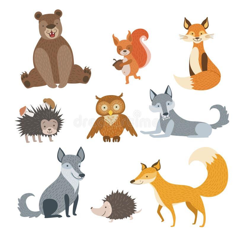 Animali della foresta messi illustrazione di stock