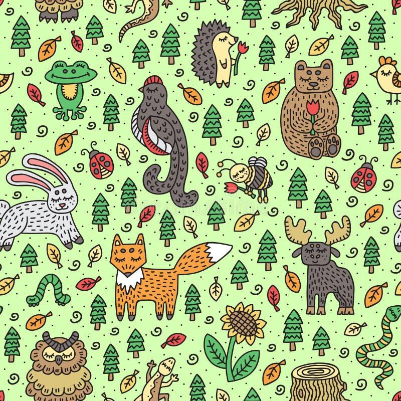 Animali della foresta Reticolo senza giunte Scarabocchi disegnati a mano svegli Illustrazione di vettore royalty illustrazione gratis