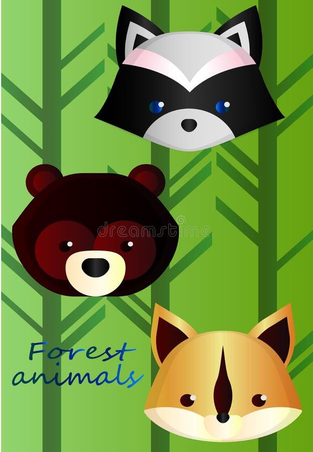 Animali della foresta su un fondo di pendenza della foresta illustrazione vettoriale