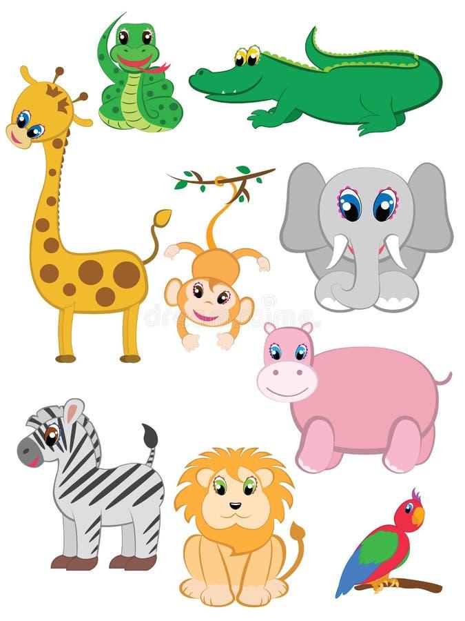 Animali della giungla impostati illustrazione di stock