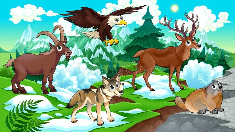 Animali della montagna del fumetto con paesaggio illustrazione di stock