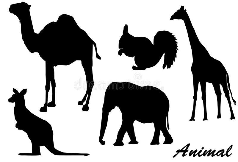 Animali della siluetta illustrazione vettoriale