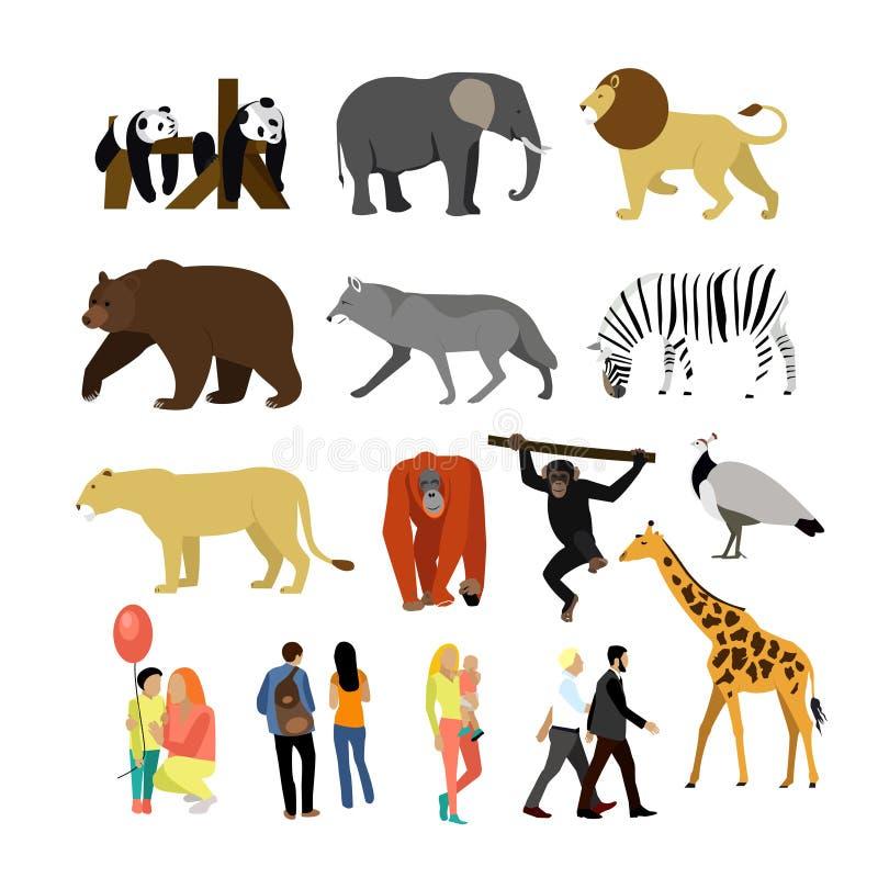 Animali dello zoo isolati su fondo bianco Illustrazione di vettore Animali africani selvaggi royalty illustrazione gratis