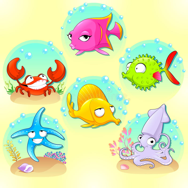 Animali di mare divertenti illustrazione vettoriale - Cartoni animati mare immagini ...