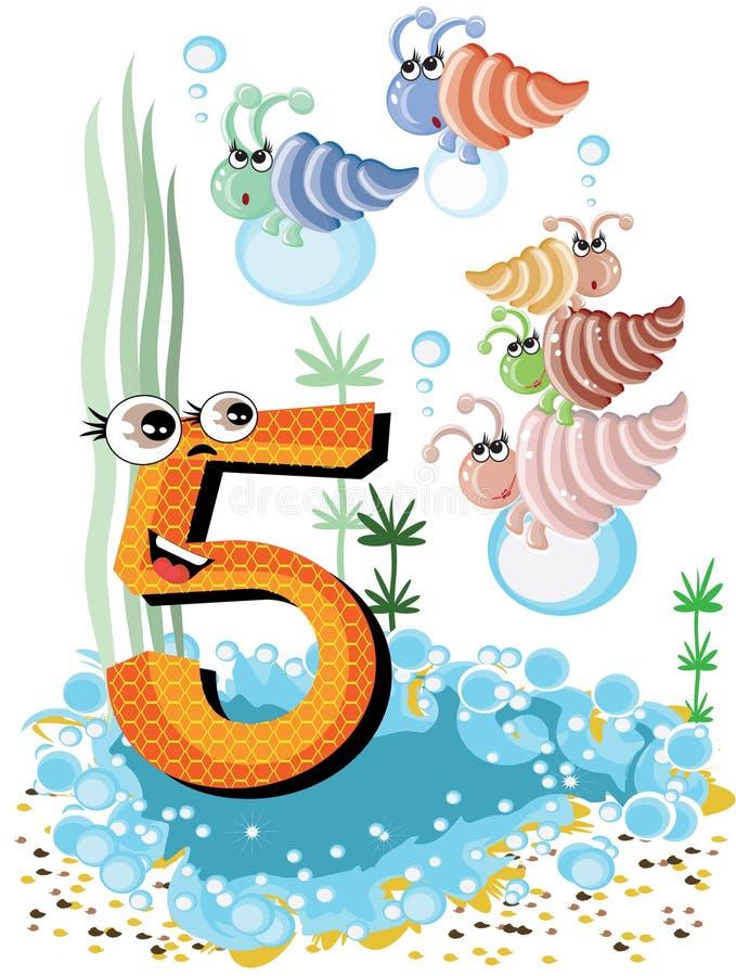 Animali di mare e serie -5, coperture di numeri fotografia stock