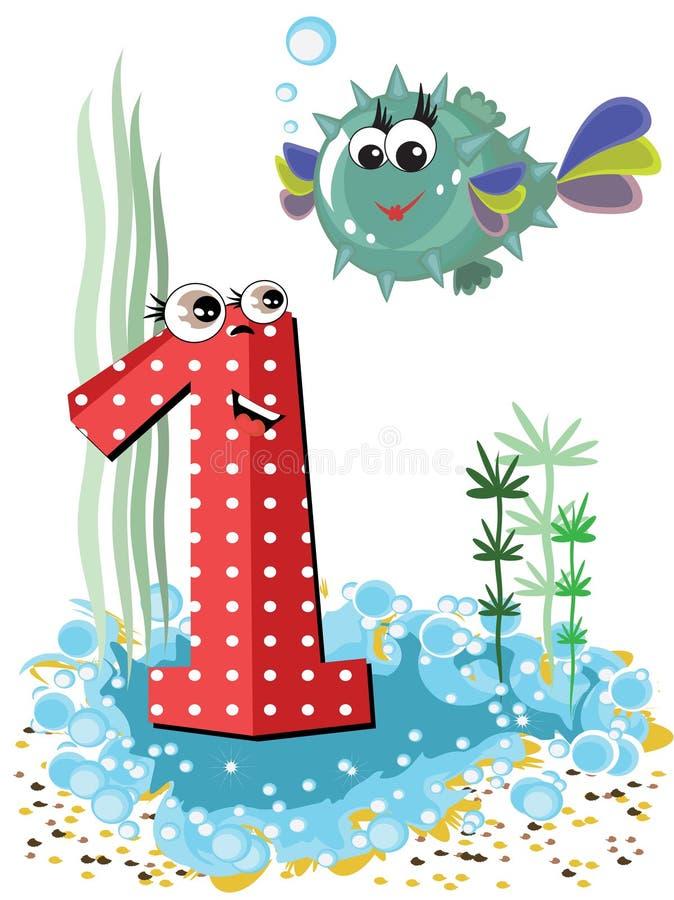 Animali di mare e serie di numeri, 1, sfera di pesci immagine stock