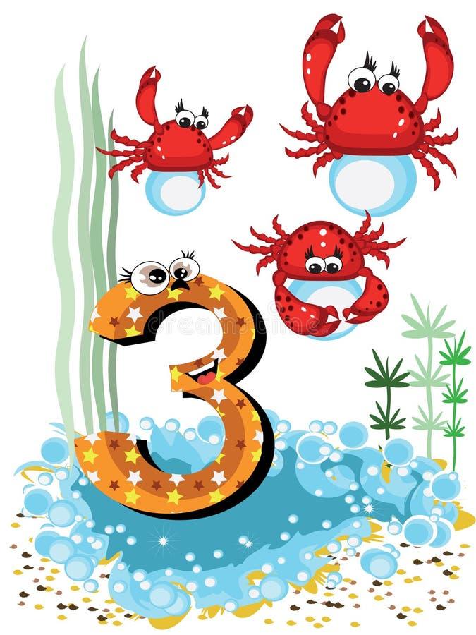Animali di mare e serie di numeri per i bambini, 3, granchi immagine stock