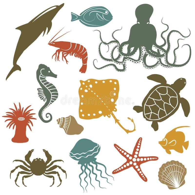 Animali di mare ed icone del pesce illustrazione di stock