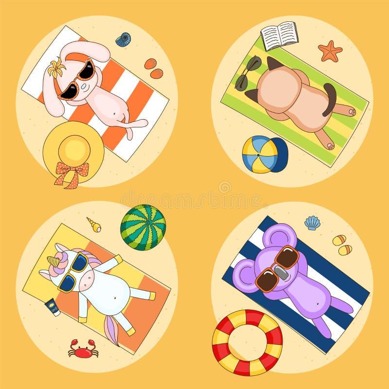 Animali divertenti svegli che prendono il sole sulla spiaggia royalty illustrazione gratis